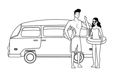young couple enjoying summer time with vintage van and beach ball vector illustration graphic design