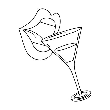 female lips with cocktail drink over white background, vector illustration