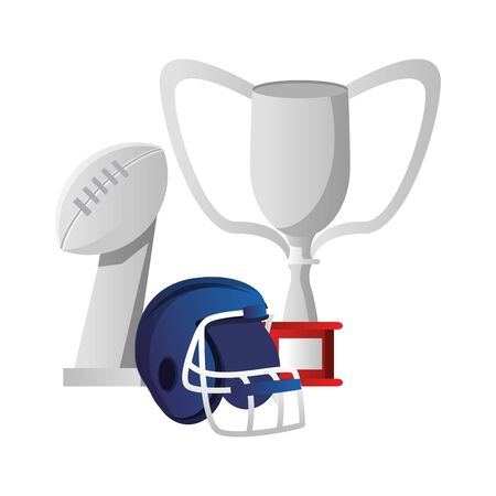 american football sport game champion trophies with player helmet cartoon vector illustration graphic design