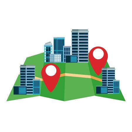 urban buildings construction properties with gps map location cartoon vector illustration graphic design