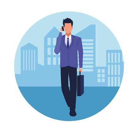 Executive businessman talking in the phone and holding briefcase in the city cartoon round icon vector illustration graphic design.