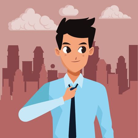 Executive businessman worker smiling cartoon in the cirty, urban scenery background ,vector illustration graphic design.