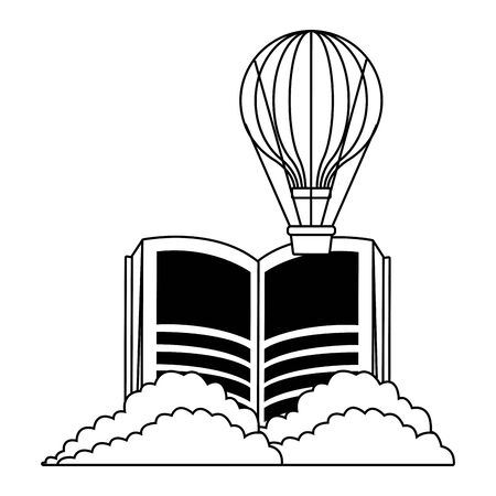 fantasy book with stories character showing air balloons and shruberry in front of the book in black and white vector illustration graphic design
