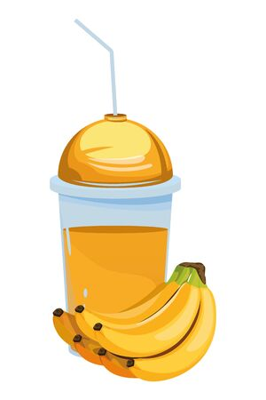 tropical fruit and smoothie drink with banana cluster icon cartoon vector illustration graphic design