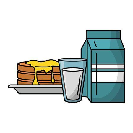 Breakfast morning food pancakes milk box and glass cartoons vector illustration graphic design