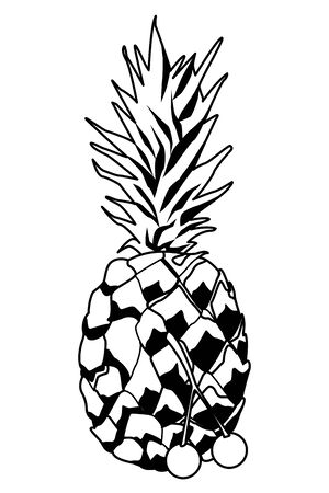 delicious mix of fruit with pineapple and cherries icon cartoon in black and white vector illustration graphic design
