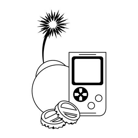 retro portable videogame and bomb with burning fuse over white background, vector illustration
