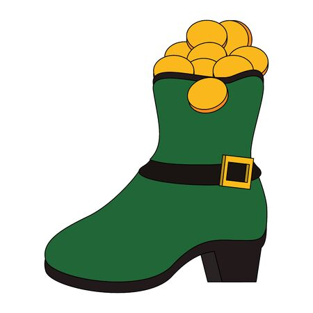 saint patricks day irish tradition green leprechaun boot with golden coins cartoon vector illustration graphic design