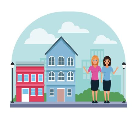 YOUNG women friends smiling with casual clothes cartoon in city neighborhood scenery with houses vector illustration graphic design.