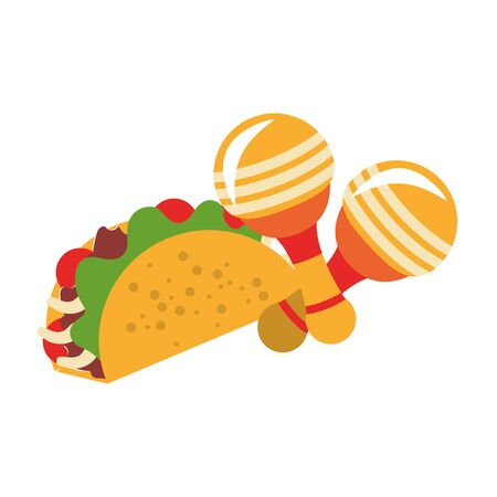 mexico culture and foods cartoons rattles and taco vector illustrationgraphic design  イラスト・ベクター素材
