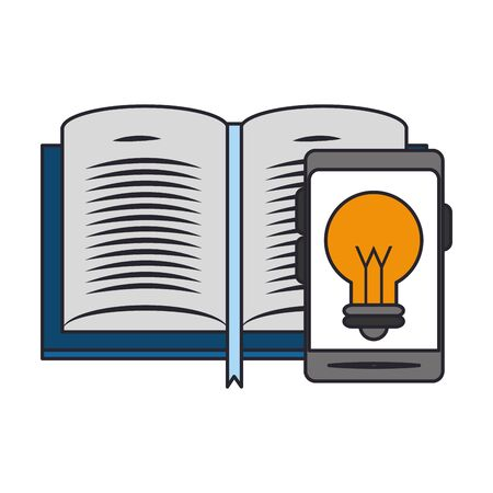 book and smartphone with bulb light icon on screen over white background, vector illustration  イラスト・ベクター素材