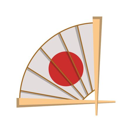chinese hand fan icon over white background, vector illustration