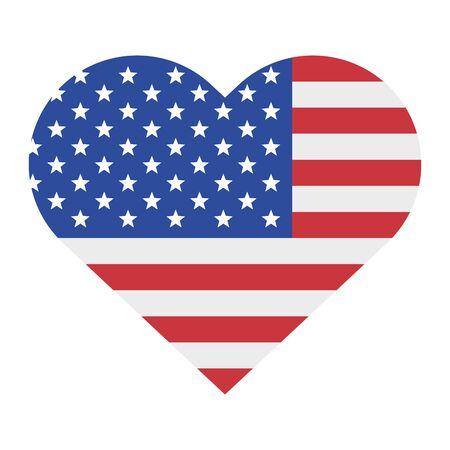 Etats-Unis américain indépendance 4 juillet patriotique heureux célébration États-Unis coeur drapeau isolé dessin animé vecteur illustration conception graphique