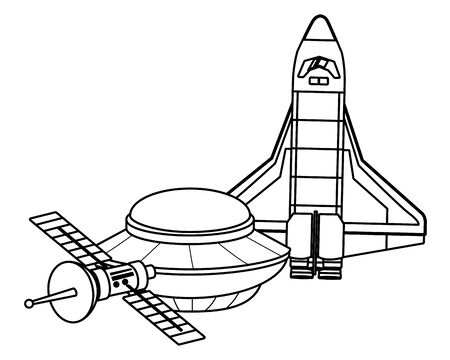 space exploration satellite, flying saucer and space shuttle in black and white icon cartoon vector illustration graphic design