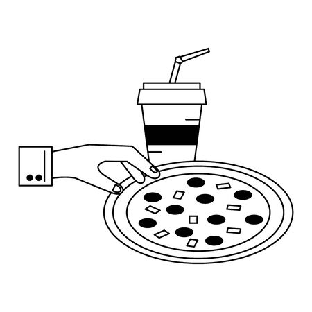 hand grabbing pizza and soda cup vector illustration graphic design Illustration