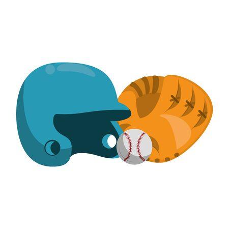 baseball equiment elements ball, batter helmet and catcher golve icon cartoon vector illustration graphic design 向量圖像