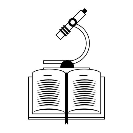 book and microscope icon over white background, vector illustration  イラスト・ベクター素材