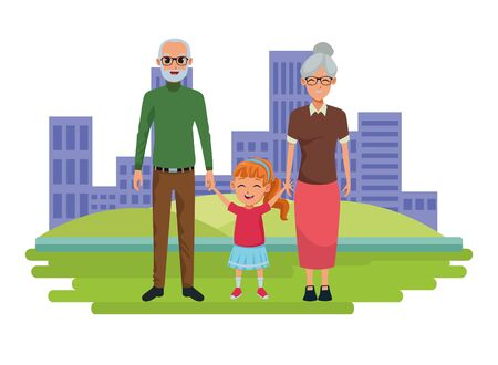 Family grandparents hand of with granddaughter cartoons on city park scenery background ,vector illustration graphic design. Stock Illustratie