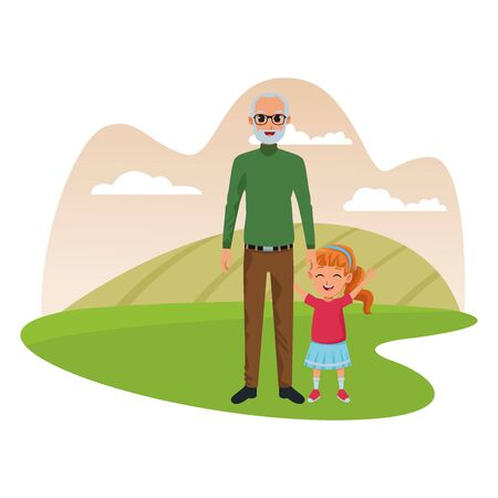 family grandaughter and grandfather of hand in nature park outdoors scenery background ,vector illustration graphic design.