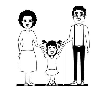 family avatar afroamerican grandfather with glasse and cane and afroamerican grandmother next to a child profile picture cartoon Illustration