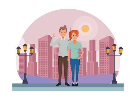 Young executive man and woman couple smiling and greeting cartoon in the city urban scenery background ,vector illustration graphic design.