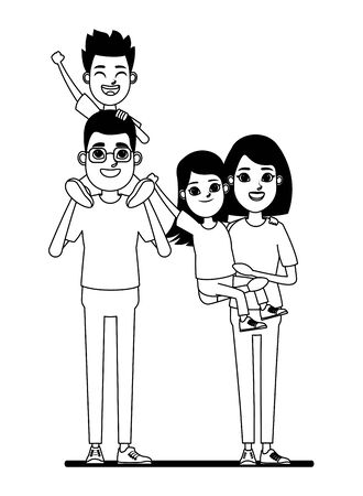 family avatar father with glasses carrying a boy in the shoulder and mother with short hair holding a girl profile picture cartoon