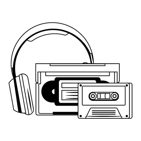 retro cassettes and headphones over white background, vector illustration