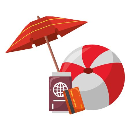 Summer and travel beach ball and umbrella with passport and credit card cartoons vector illustration graphic design Stock Illustratie