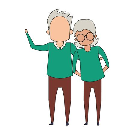 grandparents senior old retirement people grandmother and grandfather couple love cartoon vector illustration graphic design