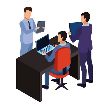 Technologiegeschäftsleute im Büro mit Laptop- und Tagebuchsymbolvektorillustrationsgrafikdesign