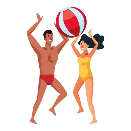 young couple enjoying summer time with beach ball vector illustration graphic design