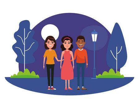 grupo de avatar persona avatar hombre afroamericano sonriendo, mujer con pelo corto y mujer con pañuelo y vestido imagen de perfil retrato de personaje de dibujos animados al aire libre en el parque con árboles y una farola en la noche con diseño gráfico de ilustración de vector de luna