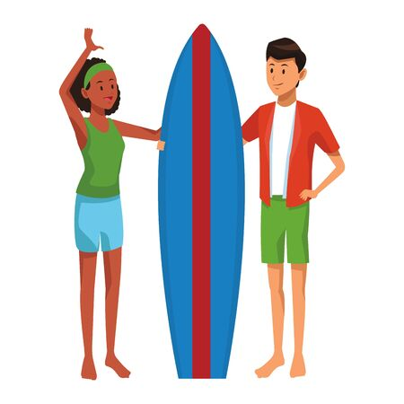 Couple enjoying summer with surf table isolated vector illustration graphic design Vectores