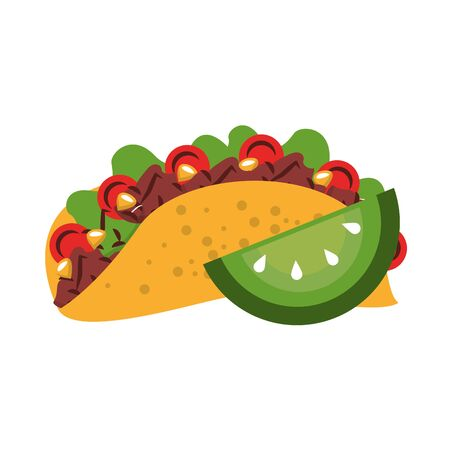 mexico culture and foods cartoons taco and cut lemon vector illustrationgraphic design