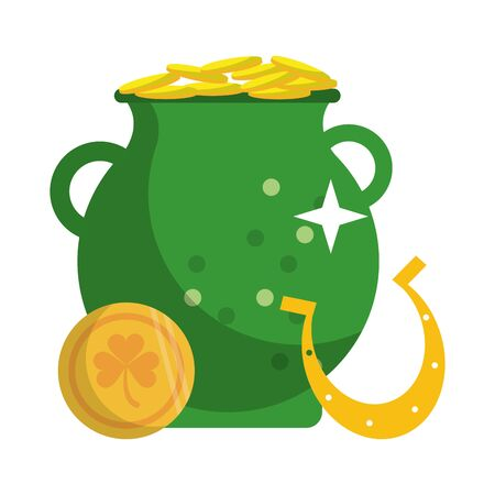 saint patricks day irish tradition golden coins pot with horseshoe cartoon vector illustration graphic design