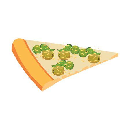 slice italian pizza design over white background, vector illustration