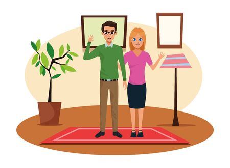 Young executive man and woman couple smiling and greeting cartoon inside home with plant pot, light lamp and pictures scenery vector illustration graphic design.