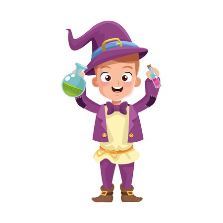 little boy with magician costume character vector illustration design Vecteurs