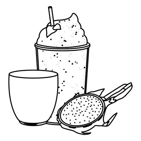 tropical fruit and smoothie drink with pitahaya icon cartoon in black and white vector illustration graphic design