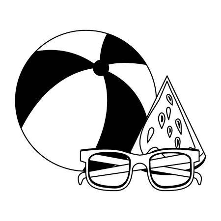 Summer sunglasses beach ball and watermelon cartoons vector illustration graphic design Stock Illustratie