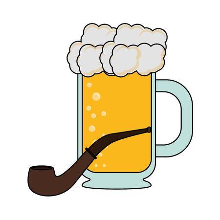 beer glass fresh alcoholic drink with tobacco pipe cartoon vector illustration graphic design Ilustração