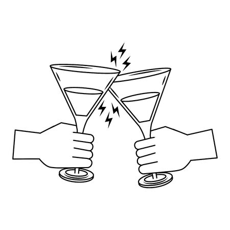 cheers hands toasting with Martini cocktails icon over white background, vector illustration