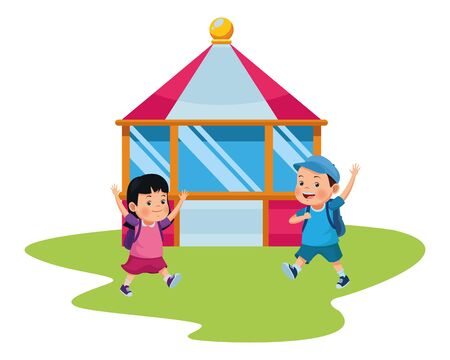 children in the carnival tent isolated vector illustration graphic design