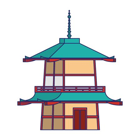 Golden Pavilion Temple icon over white background, vector illustration