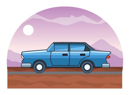 Vintage classic sedan car vehicle riding on highway landscape background vector illustration graphic design. Иллюстрация