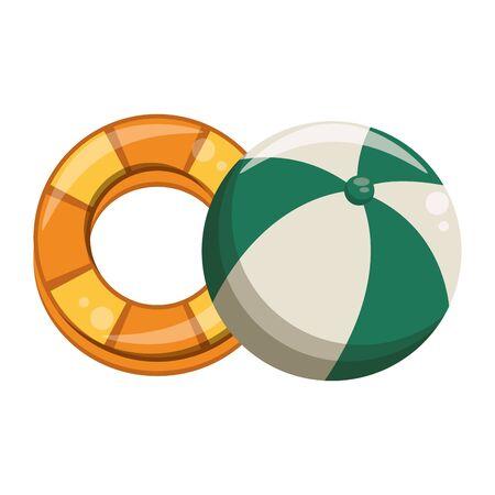 Float and beach ball cartoon isolated vector illustration graphic design Stock Illustratie