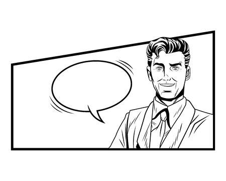 Pop art businessman speech bubble comic panel background redhead black and white vector illustration graphic design