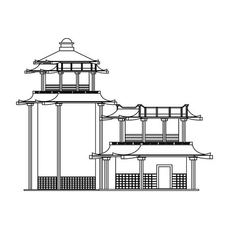 Asian temples icon over white background, vector illustration