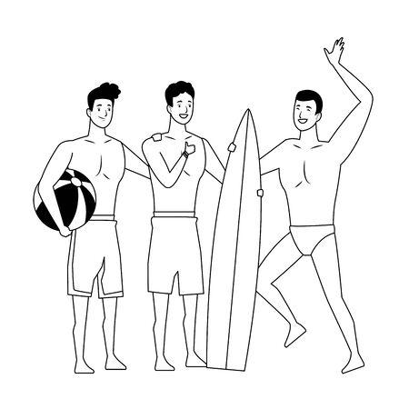 Young men enjoying summer in swimsuit cartoons vector illustration graphic design Stock Illustratie