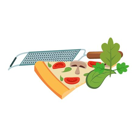 grater and italian pizza slice icon over white background, vector illustration